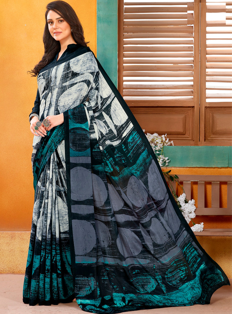 Off White & Black Color Crepe Kitty Party Sarees NYF-8830