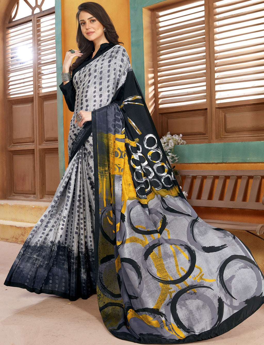 Grey & White Color Crepe Kitty Party Sarees NYF-8833