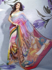 Multicolour  Colour  Georgette Material Digital Print Sarees : Bindiya Collection -  YF-10628
