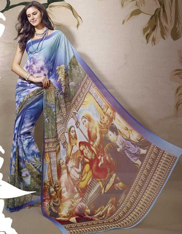 Blue  Colour  Georgette Material Digital Print Sarees : Bindiya Collection -  YF-10633