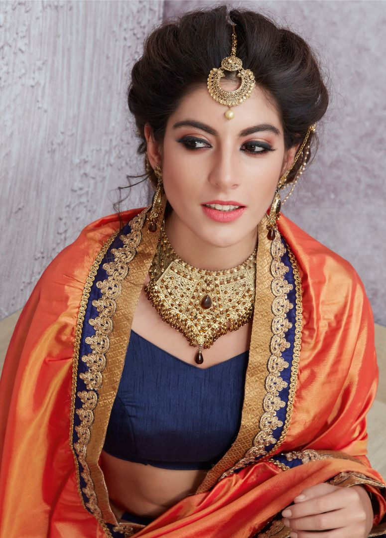 Orange & Blue Color Half Crepe Silk & Half Georgette Party Wear Sarees : Pinati Collection  NYF-3325 - YellowFashion.in