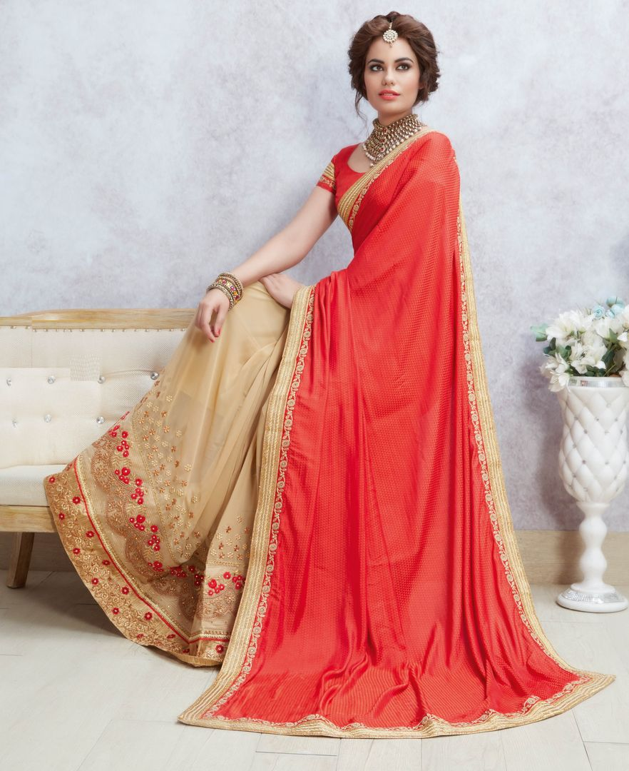 Sindoori & Cream Color Half Jacquard Silk & Half Georgette Party Wear Sarees : Pinati Collection  NYF-3326 - YellowFashion.in