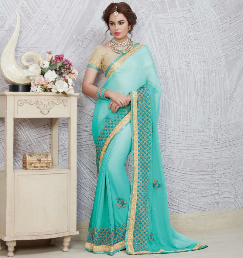 Light & Dark Aqua Blue Color Chiffon Party Wear Sarees : Pinati Collection  NYF-3327 - YellowFashion.in