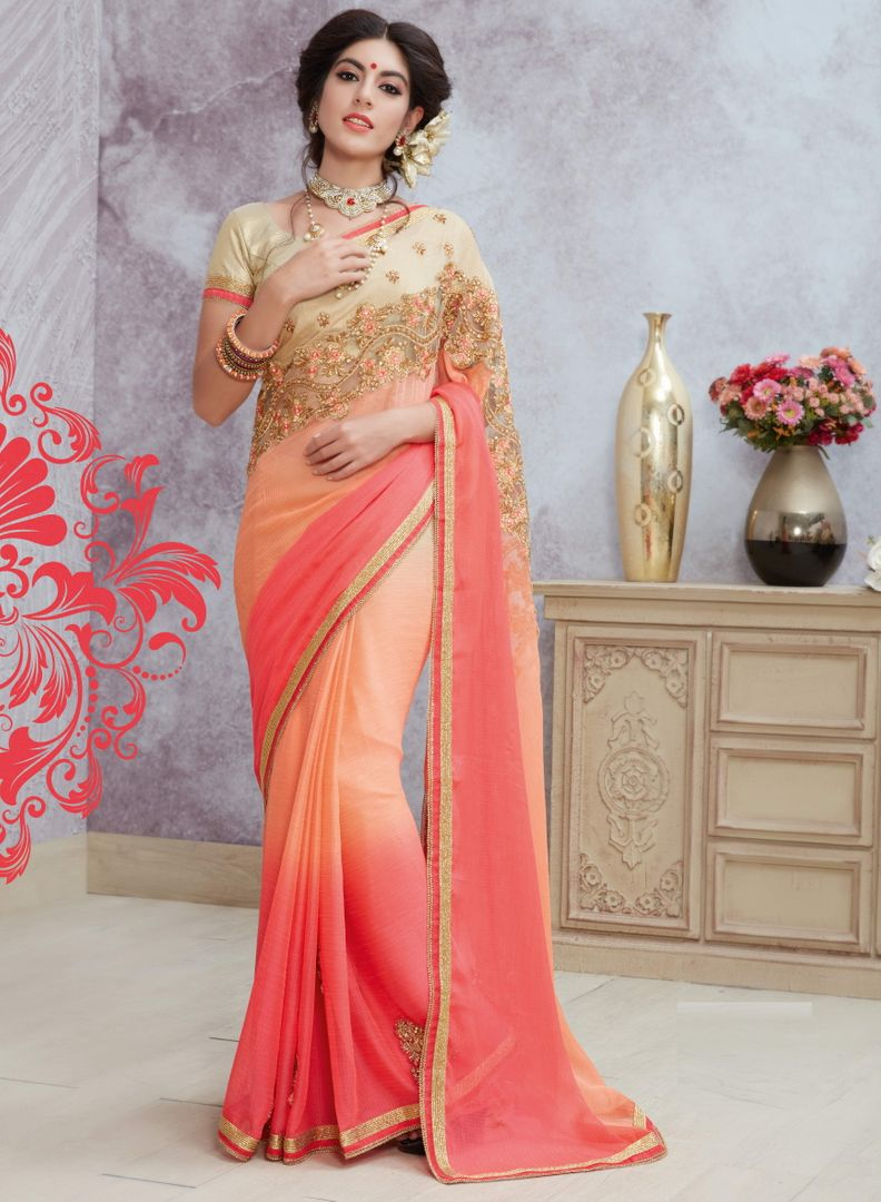 Peach & Pink Color Chiffon Party Wear Sarees : Pinati Collection  NYF-3328 - YellowFashion.in
