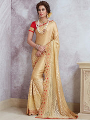 Golden Color Silk Party Wear Sarees : Pinati Collection  NYF-3329