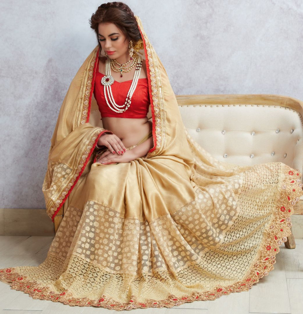 Golden Color Crepe Silk Designer Party Wear Sarees : Acharya Collection  NYF-2494 - YellowFashion.in