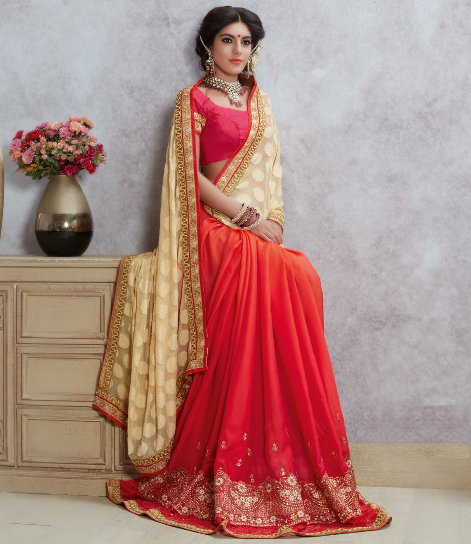 Cream & Pink Color Chiffon Designer Party Wear Sarees : Acharya Collection  NYF-2495 - YellowFashion.in