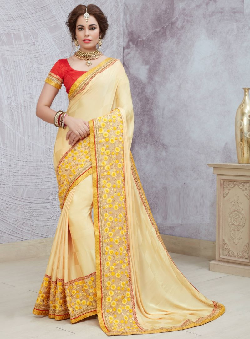 Cream Color Crepe Silk Party Wear Sarees : Pinati Collection  NYF-3330 - YellowFashion.in