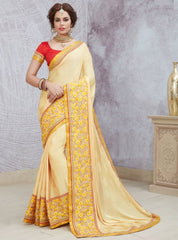 Cream Color Crepe Silk Party Wear Sarees : Pinati Collection  NYF-3330