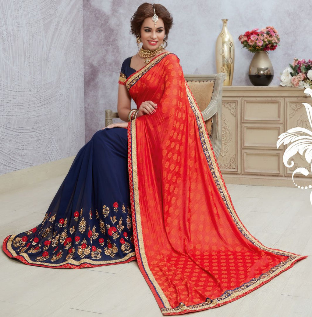 Blue & Sindoori Color Georgette Designer Party Wear Sarees : Acharya Collection  NYF-2496 - YellowFashion.in
