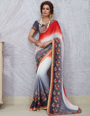 Grey & Off White Color Chiffon Party Wear Sarees : Pinati Collection  NYF-3331