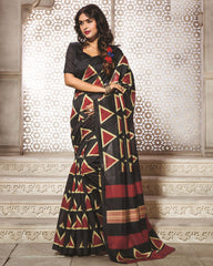 Black & Red Color Bhagalpuri Daily Wear Sarees : Dulari Collection  YF-59998
