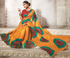 Orange Color Bhagalpuri Daily Wear Sarees : Dulari Collection  YF-60007
