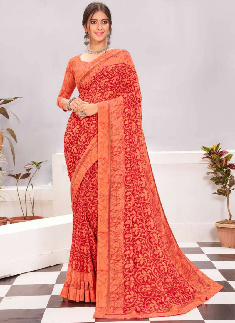Orange and Red Color Georgette Casual Wear Saree -  Kiah Collection  YF#11394
