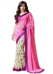Pink and Cream Color Georgette Party Wear Sarees : 2-in-1 Collection  YF-23165