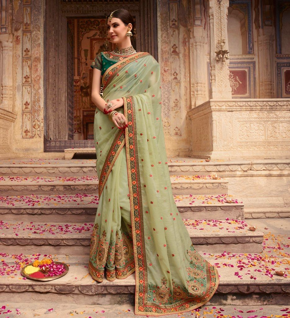 Pastel Green Color Raw Silk Designer Bridal Wear Sarees : Rupnikhar Collection  NYF-1470 - YellowFashion.in
