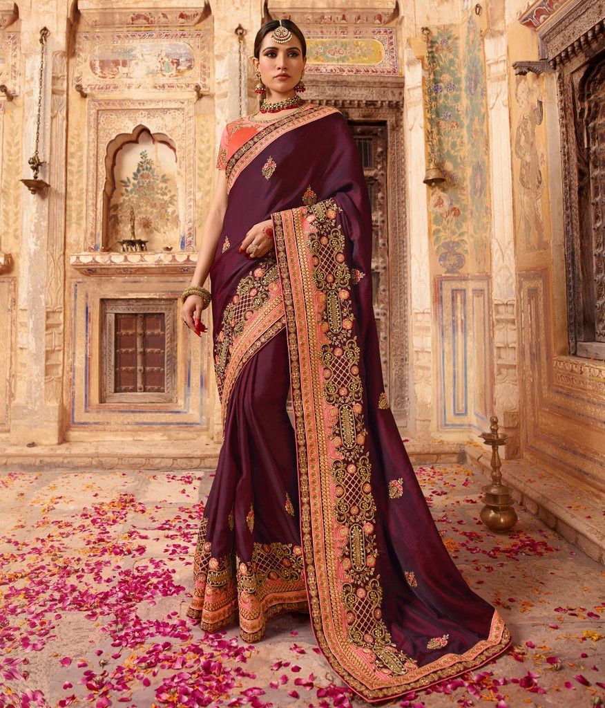 Burgandy Color Crepe Silk Designer Bridal Wear Sarees : Rupnikhar Collection  NYF-1471 - YellowFashion.in