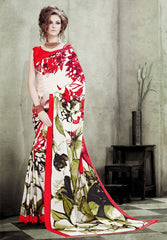 Cream & Red Color Crepe Casual Party Sarees : Rashmi Collection  YF-32258