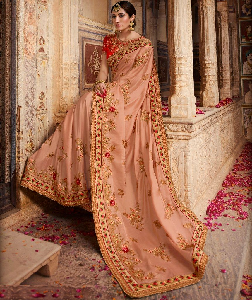 Peach Color Crepe Silk Designer Bridal Wear Sarees : Rupnikhar Collection  NYF-1472 - YellowFashion.in