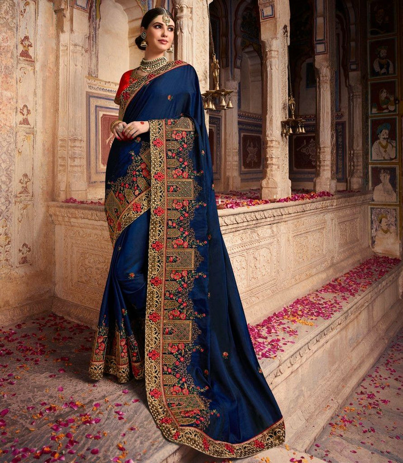 Blue Color Crepe Silk Designer Bridal Wear Sarees : Rupnikhar Collection  NYF-1473 - YellowFashion.in