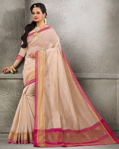 Cream Color Cotton  Festival & Function Wear Sarees : Sajita Collection  YF-48319