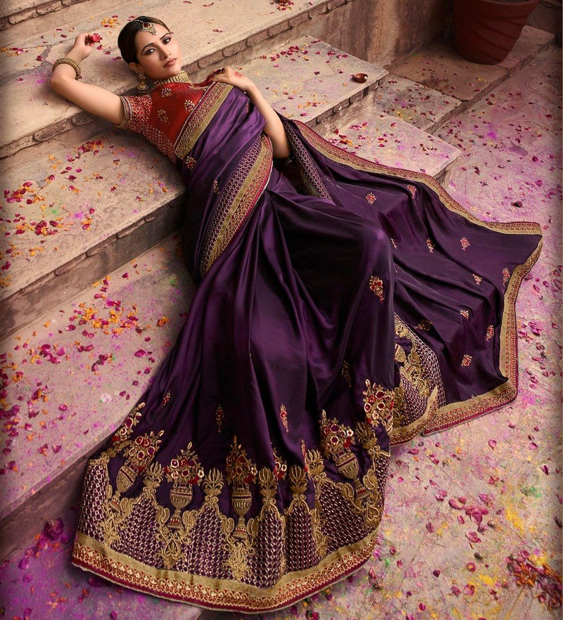 Purple Color Crepe Silk Designer Bridal Wear Sarees : Rupnikhar Collection  NYF-1474 - YellowFashion.in