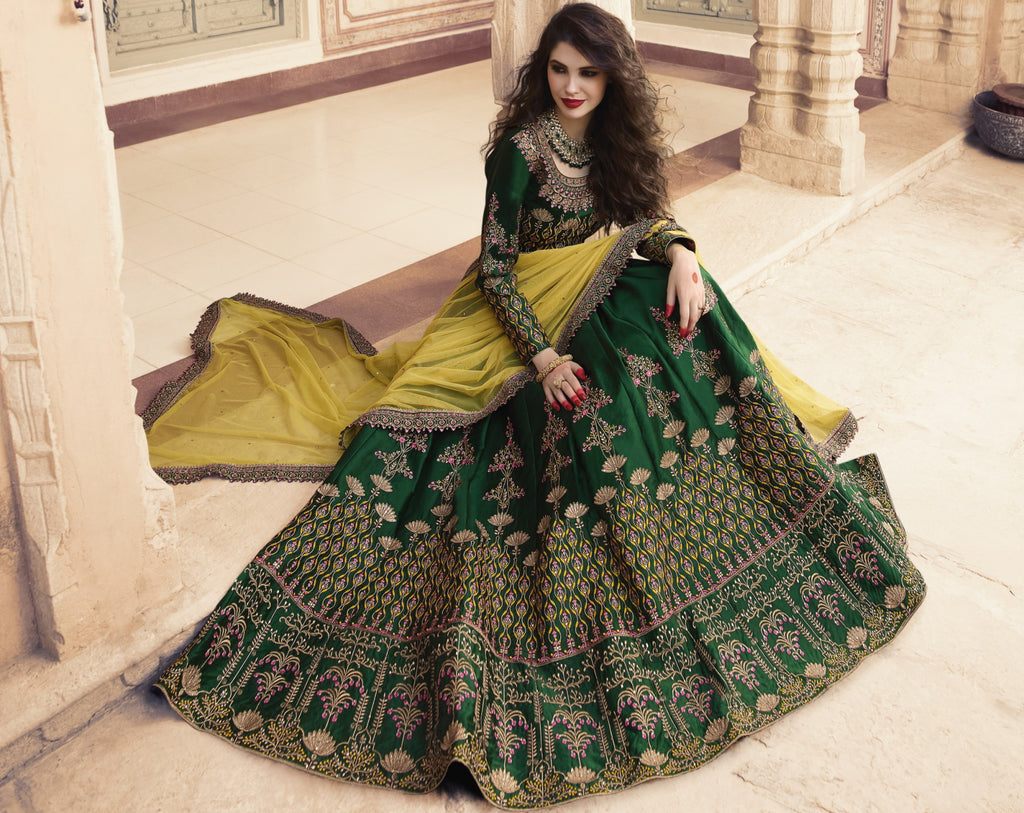 Green Color Art Silk Designer Lehenga For Wedding Functions NYF-6529