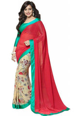 Red and Cream Color Georgette Party Wear Sarees : 2-in-1 Collection  YF-23166