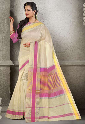 Cream Color Cotton  Festival & Function Wear Sarees : Sajita Collection  YF-48321