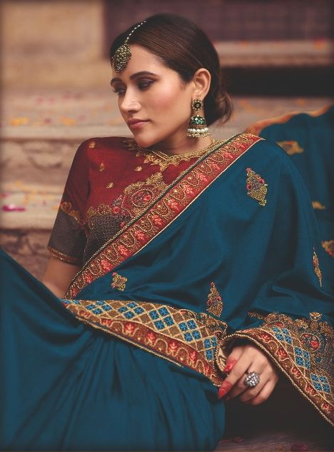Blue Color Raw Silk Party Wear Sarees : Pinati Collection  NYF-3384 - YellowFashion.in