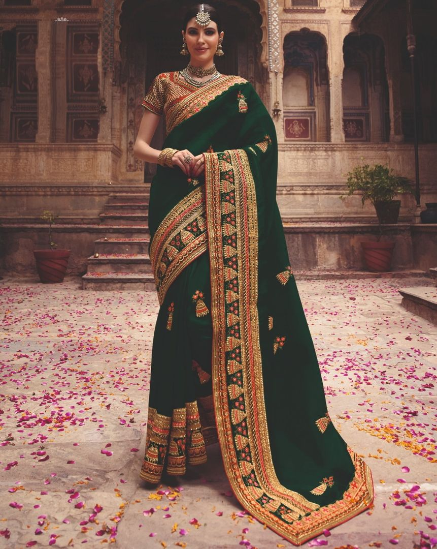 Bottle Green Color Crepe Silk Party Wear Sarees : Pinati Collection  NYF-3386 - YellowFashion.in