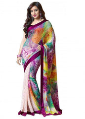 Shades of Purple Color Georgette Party Wear Sarees : 2-in-1 Collection  YF-23167