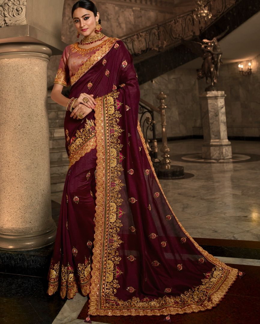 Wine Color Raw Silk Beautiful Designer Sarees NYF-4368 - YellowFashion.in