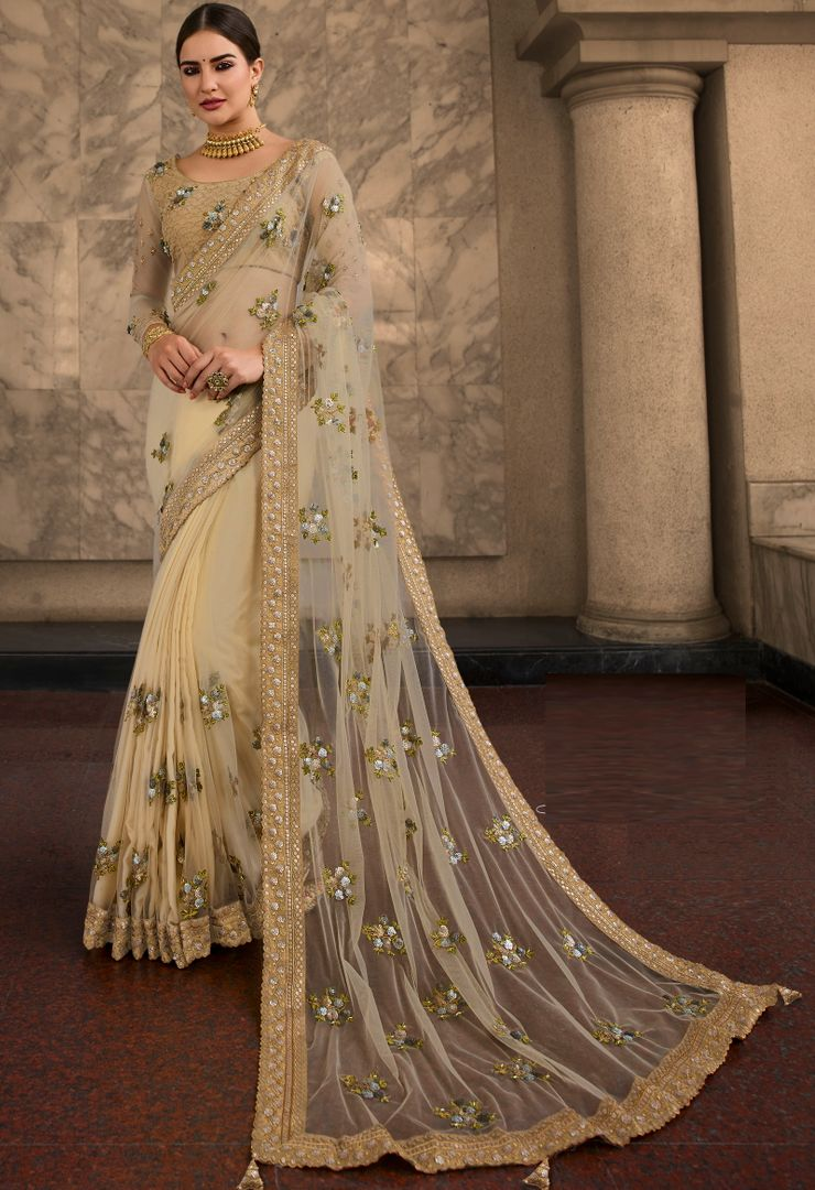 Cream Color Net Beautiful Designer Sarees NYF-4370 - YellowFashion.in