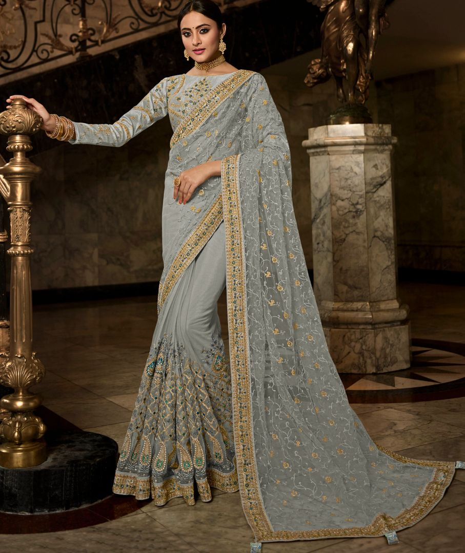Grey Color Net Beautiful Designer Sarees NYF-4372 - YellowFashion.in