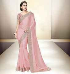 Baby Pink Color Satin Designer Party Wear Sarees : Tripuri Collection  YF-40953