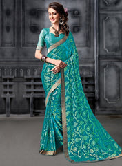 Green Color Brasso Party Wear Sarees : Arishit Collection  YF-51739