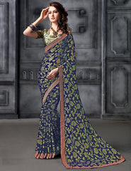 Blue Color Brasso Party Wear Sarees : Arishit Collection  YF-51740