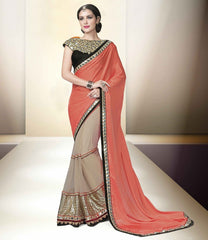 Light Coffee & Peach Color Half Net & Half Wrinkle Chiffon Designer Party Wear Sarees : Tripuri Collection  YF-40955