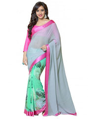 Grey and Sea Green Color Georgette Party Wear Sarees : 2-in-1 Collection  YF-23168