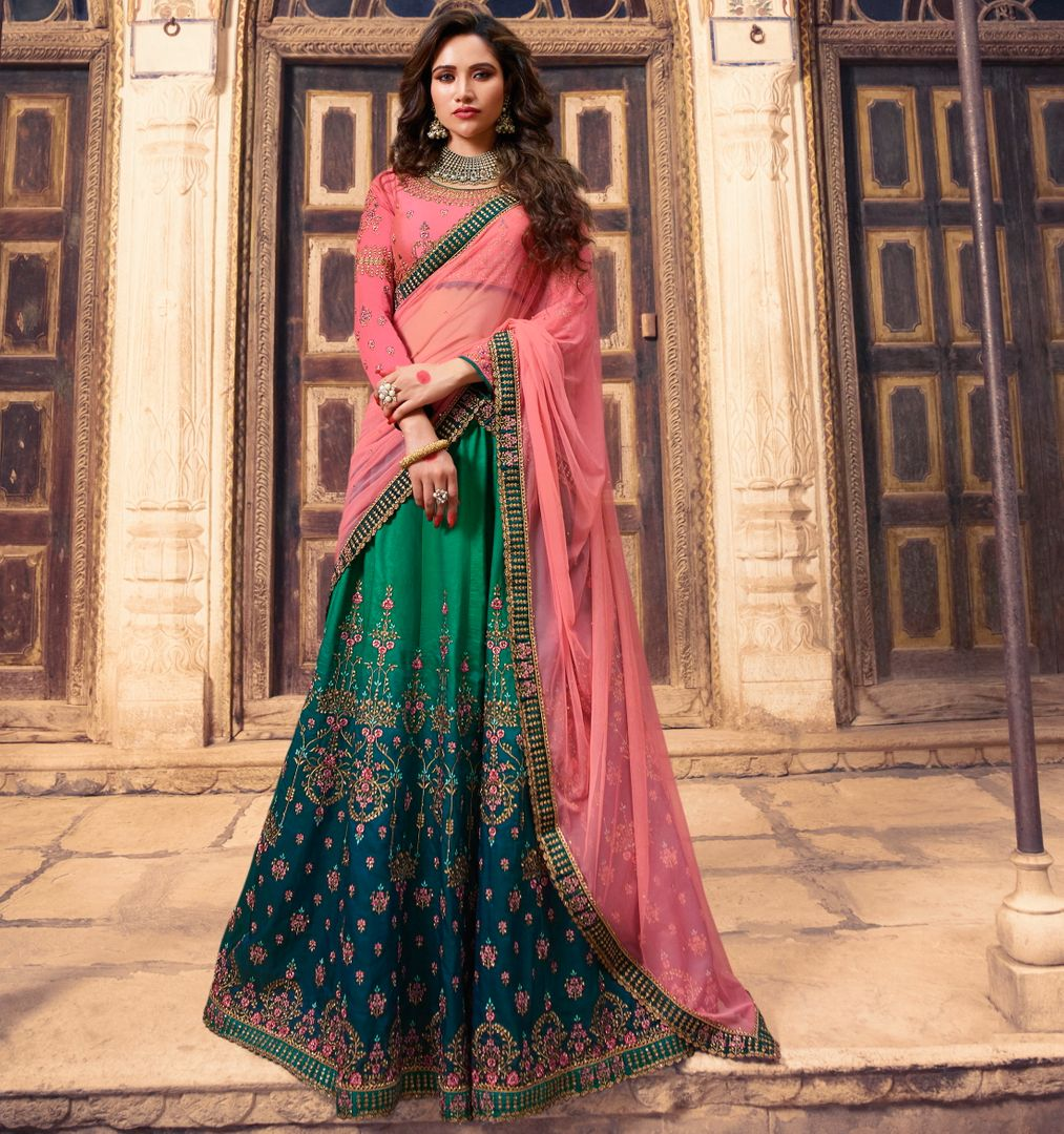 Light & Dark Green  Barfi Silk Designer Lehenga For Wedding Functions : Kreshti Collection  NYF-3314 - YellowFashion.in