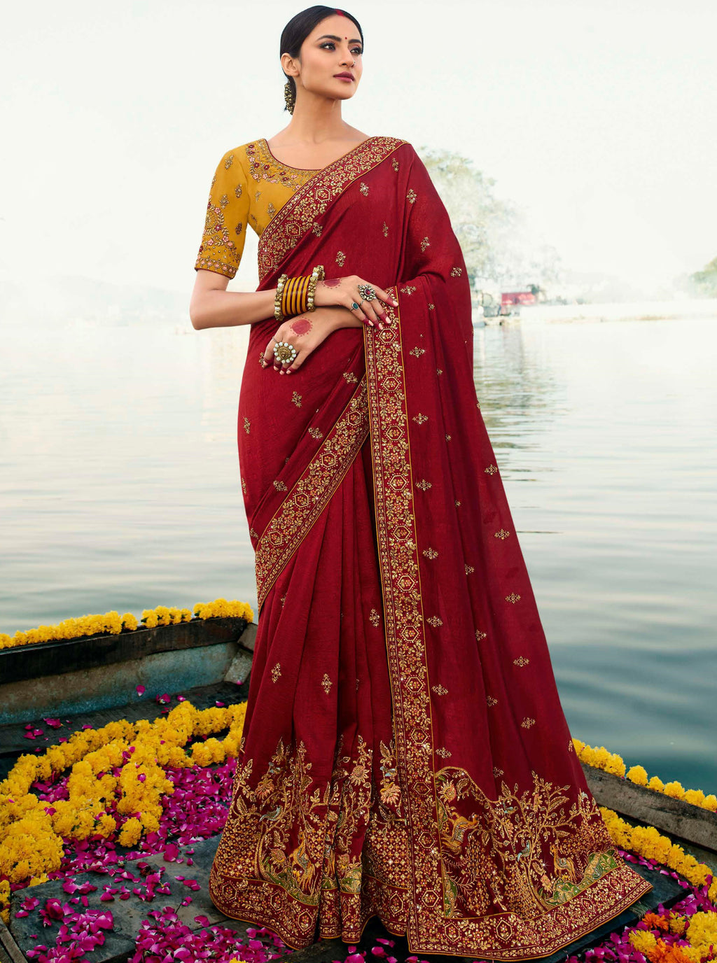 Red Color Dola Silk Embroidered Designer Sarees NYF-5752