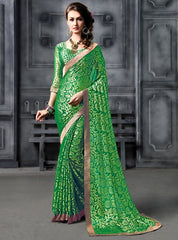 Green Color Brasso Party Wear Sarees : Arishit Collection  YF-51741