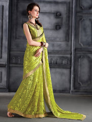 Mehendi Green Color Brasso Party Wear Sarees : Arishit Collection  YF-51742