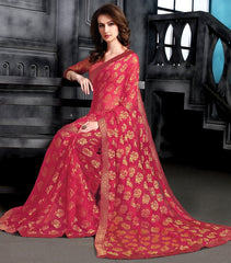 Reddish Pink Color Brasso Party Wear Sarees : Arishit Collection  YF-51743