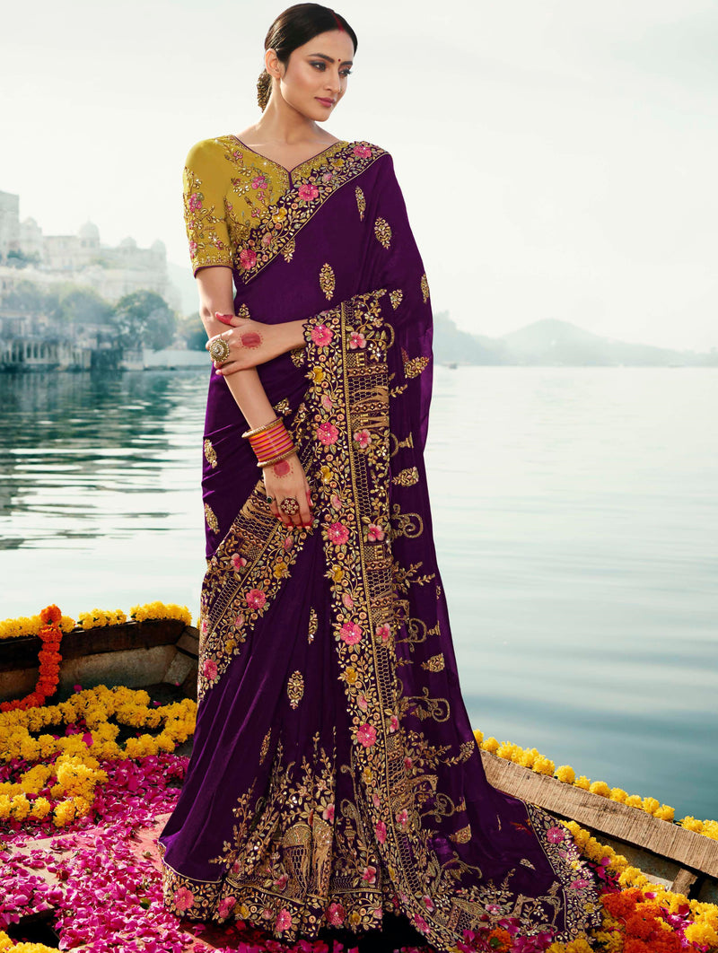 Purple Color Dola Silk Embroidered Designer Sarees NYF-5754