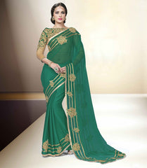 Green Color Wrinkle Chiffon Designer Party Wear Sarees : Tripuri Collection  YF-40958