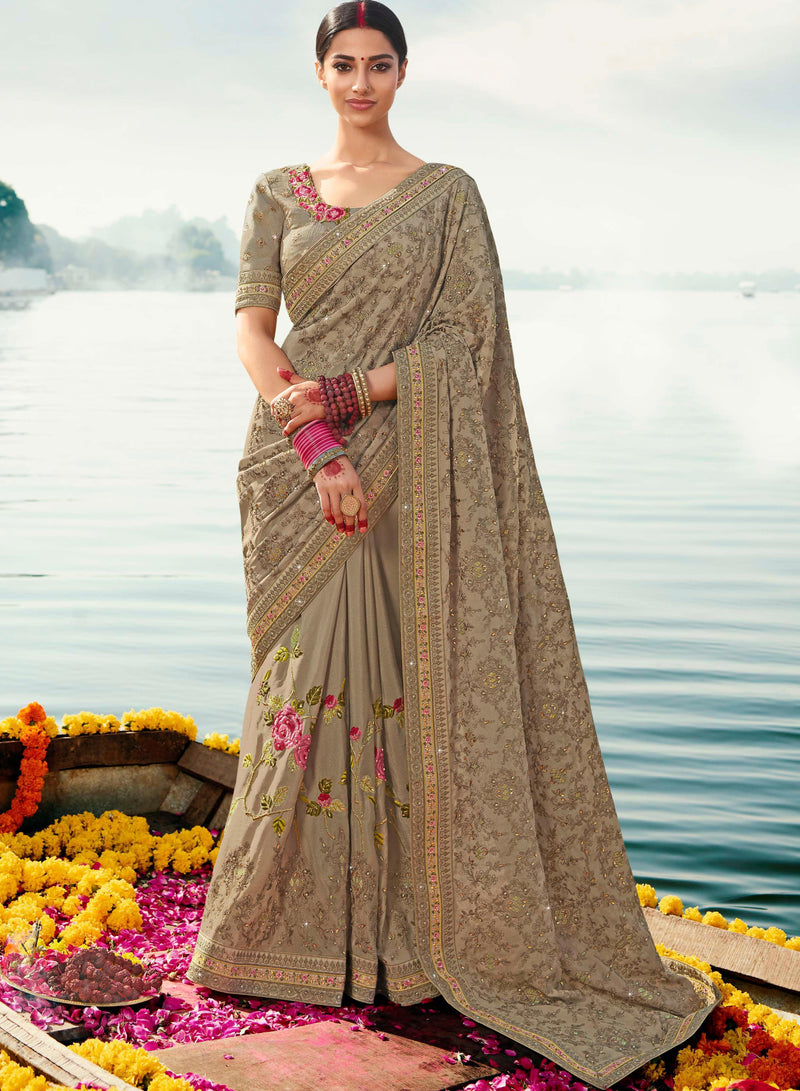 Mud Color Dola Silk Embroidered Designer Sarees NYF-5755