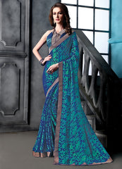 Blue Color Brasso Party Wear Sarees : Arishit Collection  YF-51744