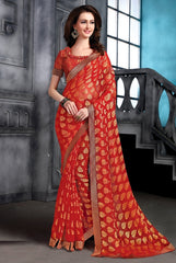 Red Color Brasso Party Wear Sarees : Arishit Collection  YF-51745